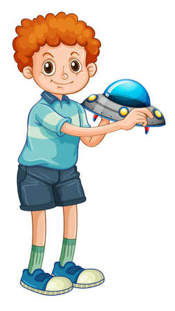 A boy holding rocket toy cartoon character isolated on white background illustration