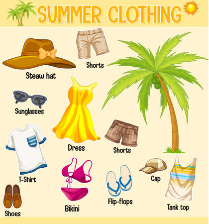 Summer collection of clothing and accessories isolated on yellow background illustration