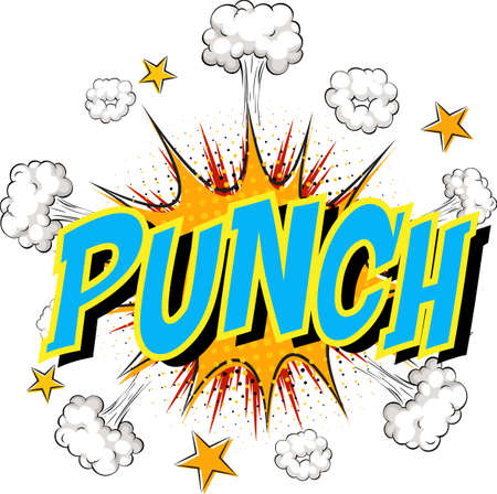 Word Punch on comic cloud explosion background illustration