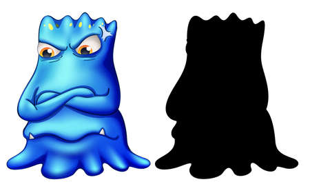 Blue monster with its silhouette on white background illustration Ilustracja
