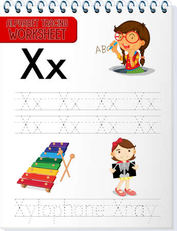 Alphabet tracing worksheet with letter X and x illustration