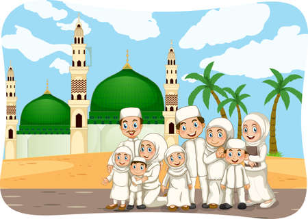 Scene with muslim family cartoon character illustration