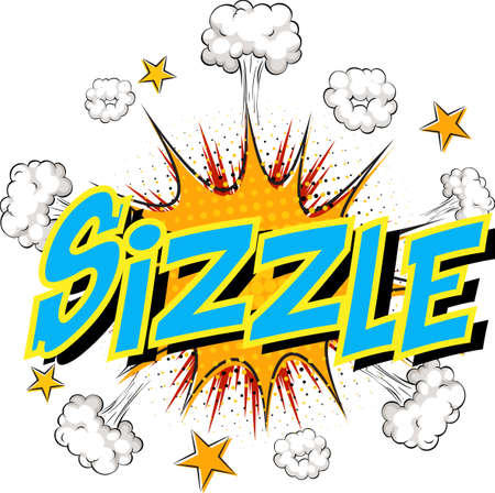Word Sizzle on comic cloud explosion background illustration Ilustracja