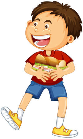 A boy holding food cartoon character isolated on white background illustration 矢量图像