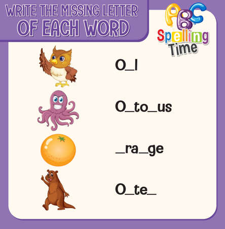 Write the missing letter of each word worksheet for children illustration