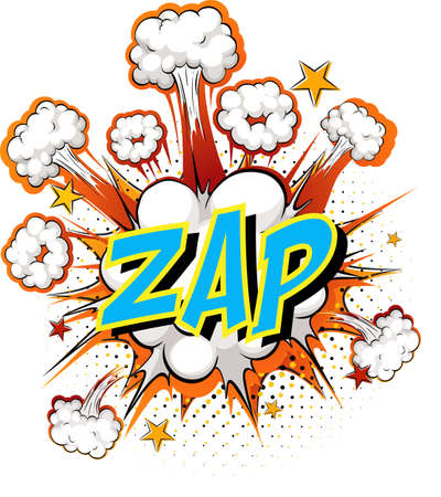 Word Zap on comic cloud explosion background illustration