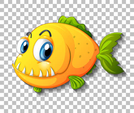 Yellow exotic fish cartoon character on transparent background illustration