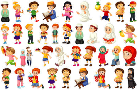 Children doing different activities cartoon character set on white background illustration
