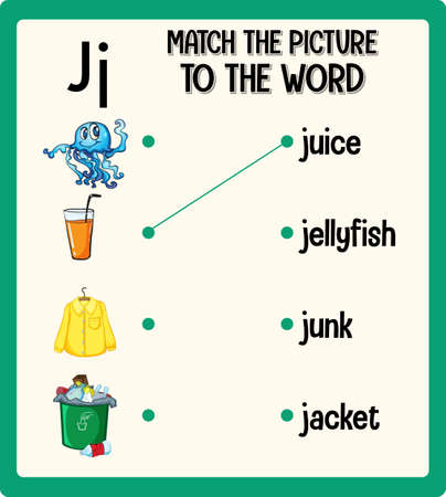 Match the picture to the word worksheet for children illustration Ilustracja