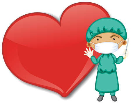 Empty big heart banner with a doctor wearing mask cartoon character illustration 矢量图像