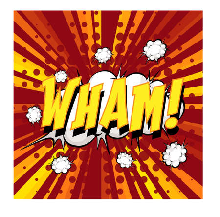 WHAM wording comic speech bubble on burst illustration Ilustracja