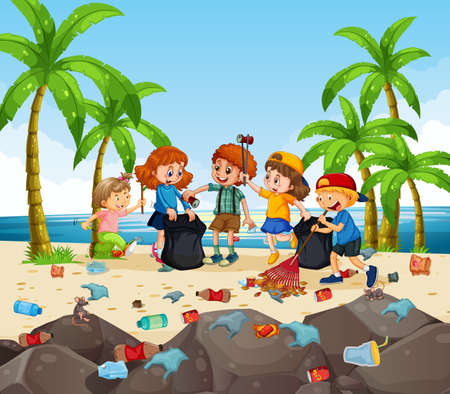 A group of volunteer kids cleaning the beach illustration 矢量图像