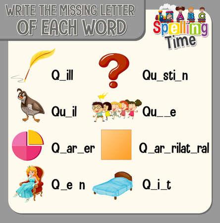 Write the missing letter of each word worksheet for children illustration