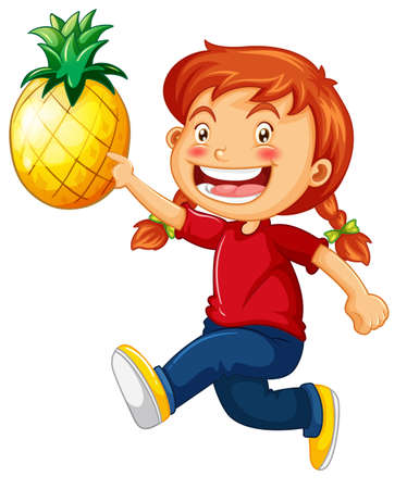 A cute girl holding pineapple cartoon character isolated on white background illustration
