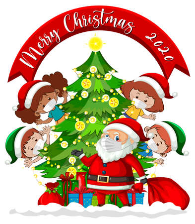 Merry Christmas 2020 font banner with children wearing mask on white background illustration