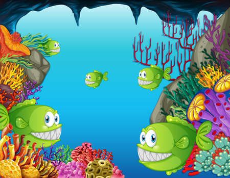 Many exotic fishes cartoon character in the underwater scene with corals illustration