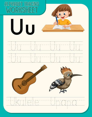 Alphabet tracing worksheet with letter U and u illustration
