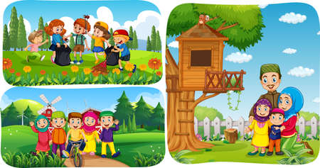 Set of muslim people cartoon character in different scene illustration