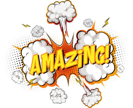 Word Amazing on comic cloud explosion background illustration 矢量图像
