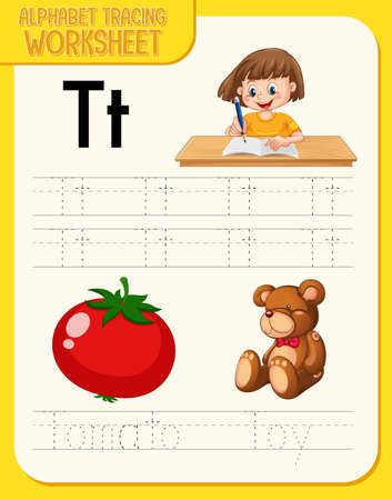 Alphabet tracing worksheet with letter T and t illustration 矢量图像