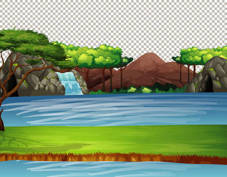 Nature outdoor landscape transparent background illustration 矢量图像