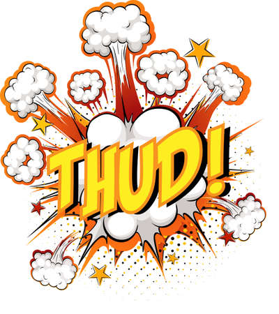 Word Thud on comic cloud explosion background illustration Ilustracja