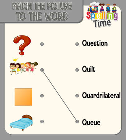Word to picture matching worksheet for children illustration Ilustracja