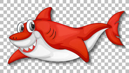 Smiling cute shark cartoon character isolated on transparent background illustration