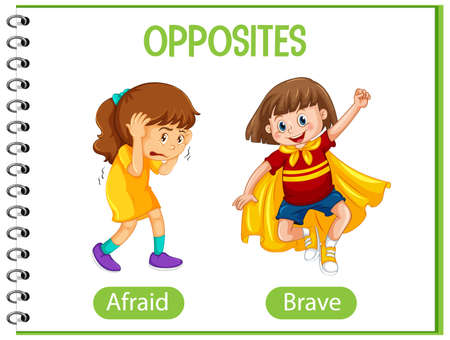 Opposite words with afraid and brave illustration