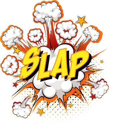 Word Slap on comic cloud explosion background illustration Ilustracja