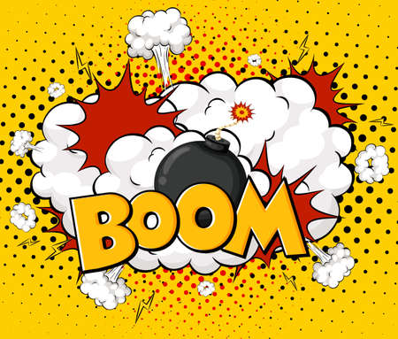 BOOM wording comic speech bubble on burst illustration 矢量图像