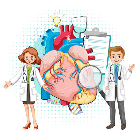 Doctor and human heart on white background illustration Ilustracja