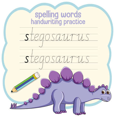 Spelling words dinosaur handwriting practice worksheet illustration
