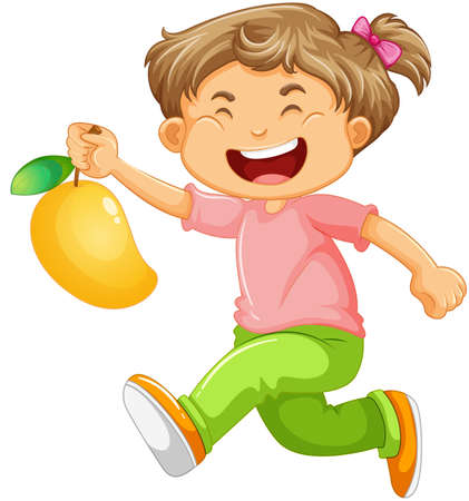 A boy holding mango fruit cartoon character isolated on white background illustration
