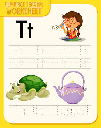 Alphabet tracing worksheet with letter T and t illustration Ilustracja