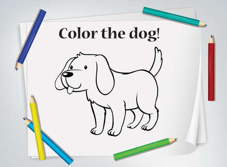 Dog cartoon doodle on paper with many color pencils illustration