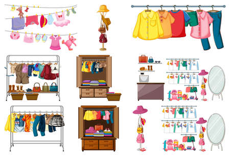 Set of clothes, accessories and wardrobe isolated on white background illustration 矢量图像