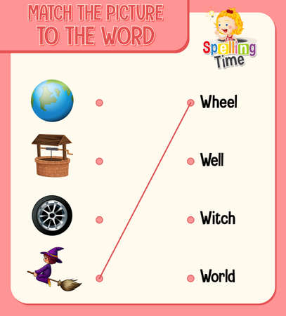Match the picture to the word worksheet for children illustration 矢量图像