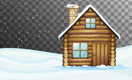 Nature scene in winter season theme with transparent background illustration