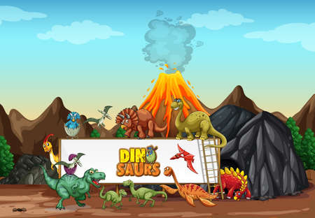 Dinosaurs cartoon character in nature scene illustration 矢量图像