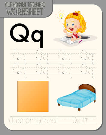 Alphabet tracing worksheet with letter Q and q illustration 矢量图像