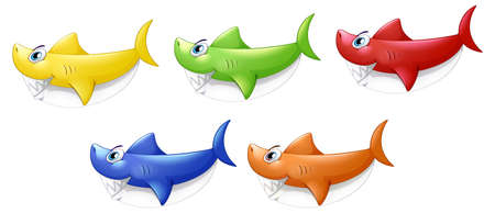 Set of many smiling cute shark cartoon character isolated on white background illustration
