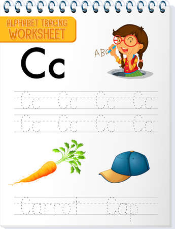 Alphabet tracing worksheet with letter and vocabulary illustration 矢量图像