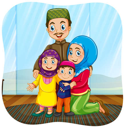 Cute muslim family cartoon character illustration