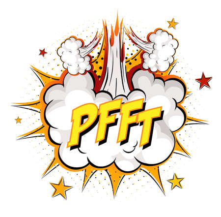 PFFT text on comic cloud explosion isolated on white background illustration