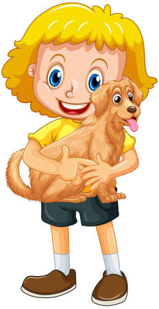 A girl holding cute dog cartoon character isolated on white background illustration