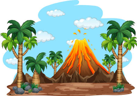 Volcanic eruption outdoor scene background illustration 矢量图像