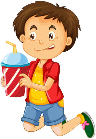A boy holding drink cup cartoon character isolated on white background illustration