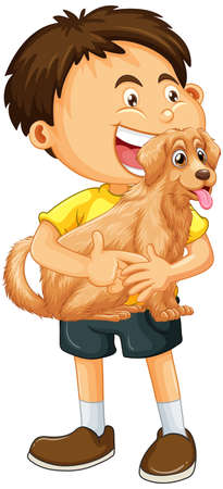 A boy holding cute dog cartoon character isolated on white background illustration