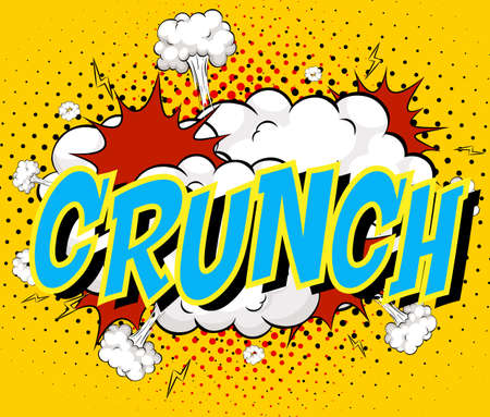 Word Crunch on comic cloud explosion background illustration